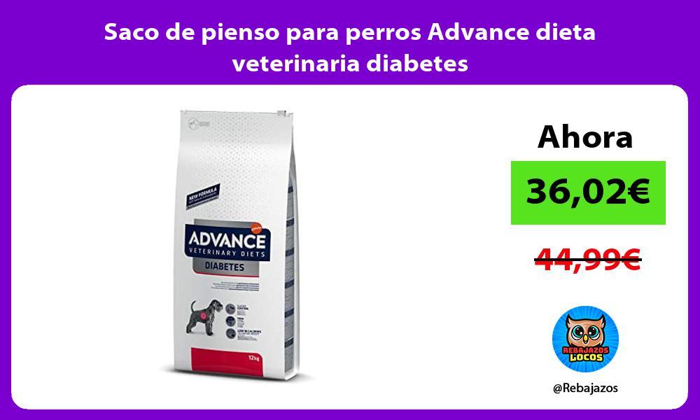 Saco de pienso para perros Advance dieta veterinaria diabetes