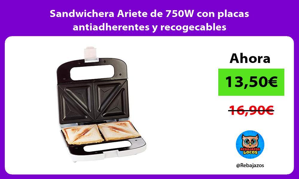 Sandwichera Ariete de 750W con placas antiadherentes y recogecables