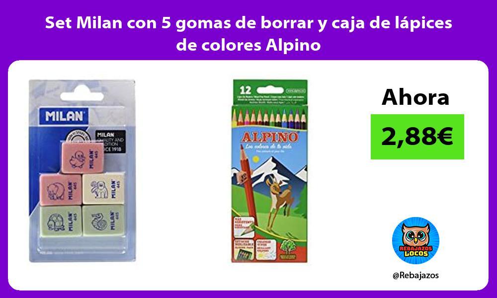 Set Milan con 5 gomas de borrar y caja de lapices de colores Alpino