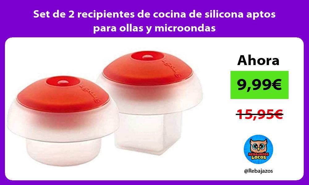 Set de 2 recipientes de cocina de silicona aptos para ollas y microondas