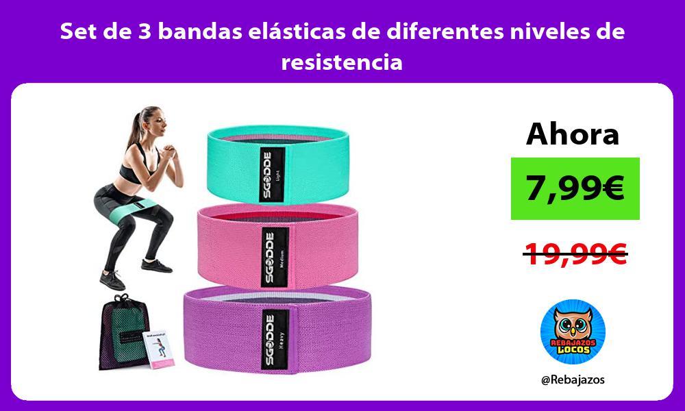 Set de 3 bandas elasticas de diferentes niveles de resistencia