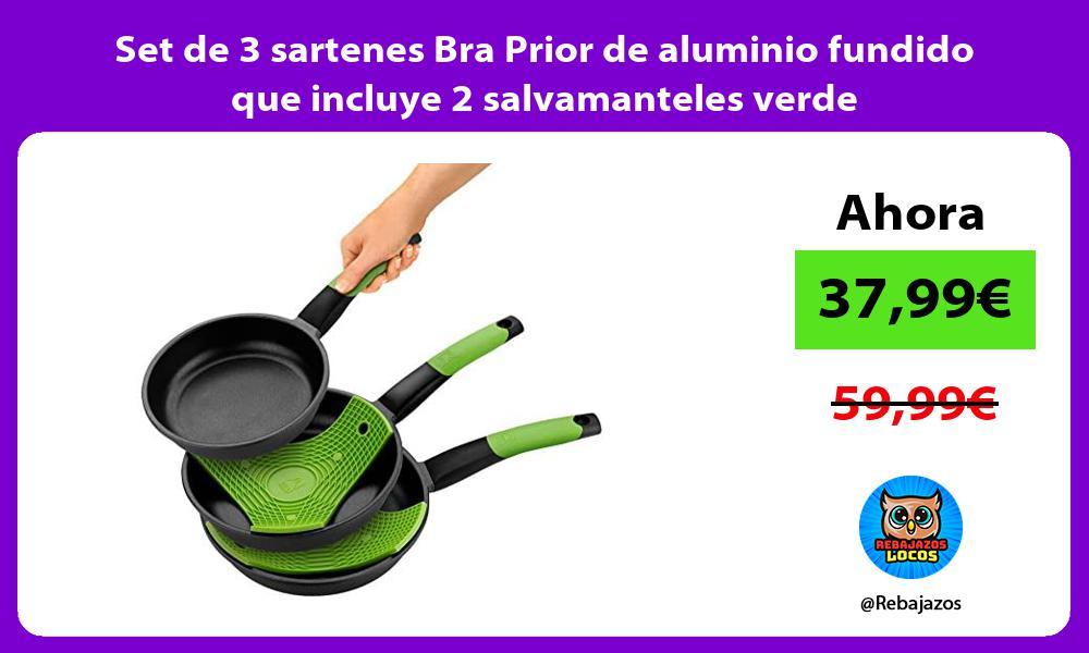 Set de 3 sartenes Bra Prior de aluminio fundido que incluye 2 salvamanteles verde