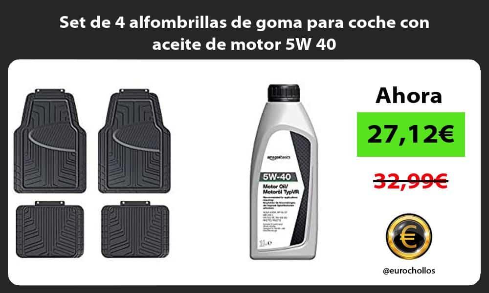 Set de 4 alfombrillas de goma para coche con aceite de motor 5W 40