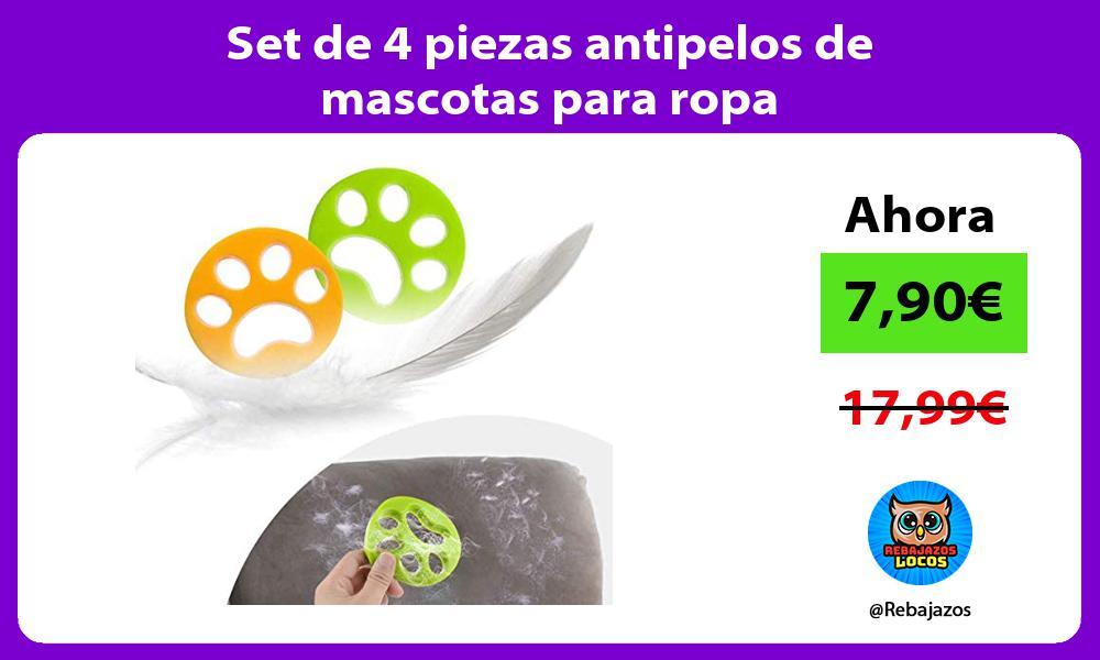 Set de 4 piezas antipelos de mascotas para ropa
