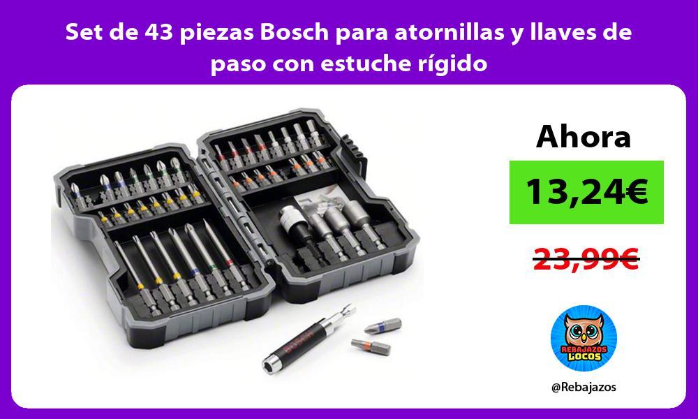 Set de 43 piezas Bosch para atornillas y llaves de paso con estuche rigido