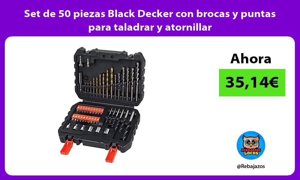 Set de 50 piezas Black Decker con brocas y puntas para taladrar y atornillar
