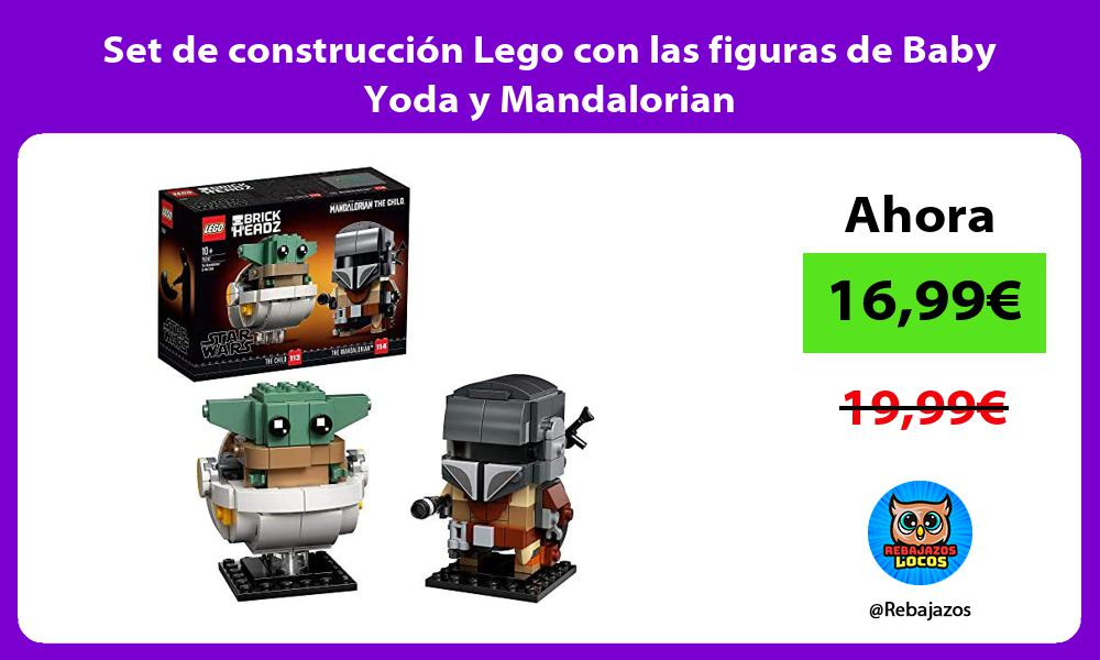 Set de construccion Lego con las figuras de Baby Yoda y Mandalorian