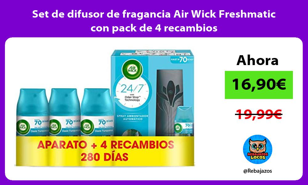 Set de difusor de fragancia Air Wick Freshmatic con pack de 4 recambios
