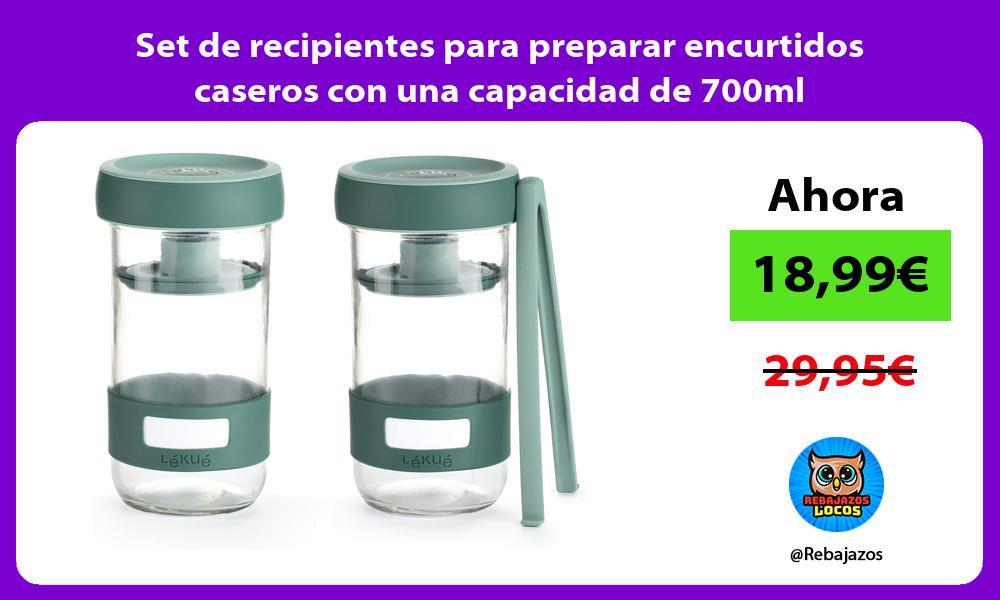 Set de recipientes para preparar encurtidos caseros con una capacidad de 700ml
