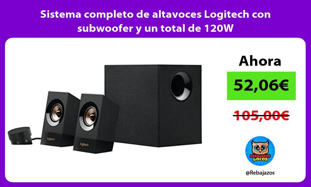 Sistema completo de altavoces Logitech con subwoofer y un total de 120W