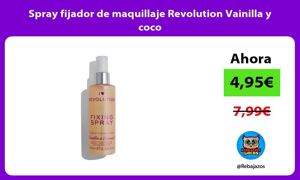 Spray fijador de maquillaje Revolution Vainilla y coco