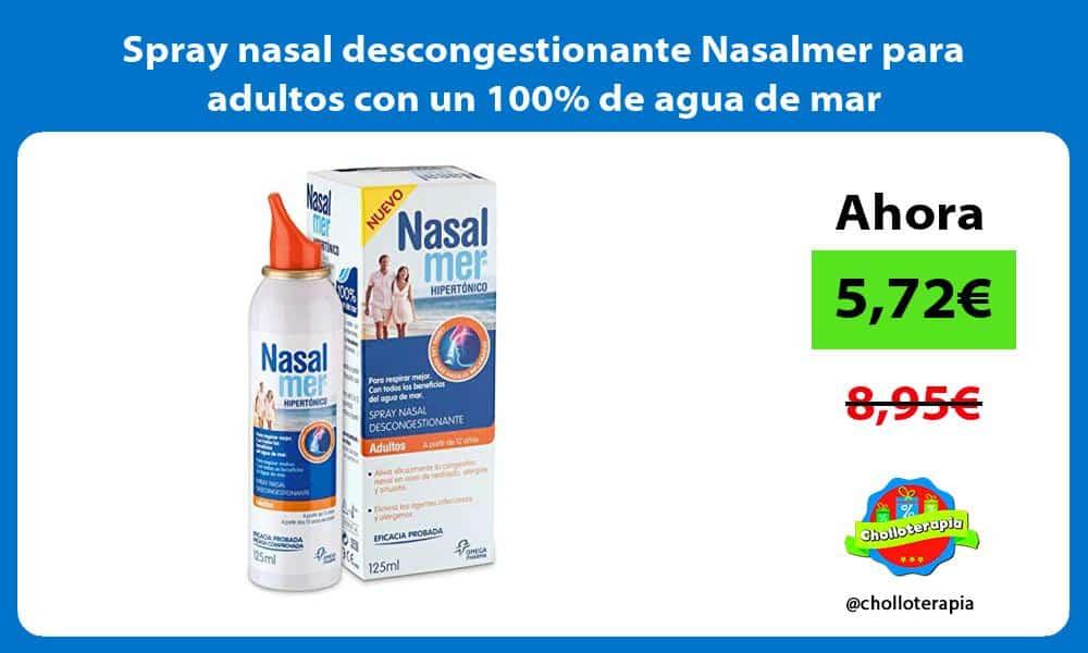 Spray nasal descongestionante Nasalmer para adultos con un 100 de agua de mar