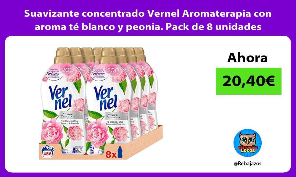 Suavizante concentrado Vernel Aromaterapia con aroma te blanco y peonia Pack de 8 unidades