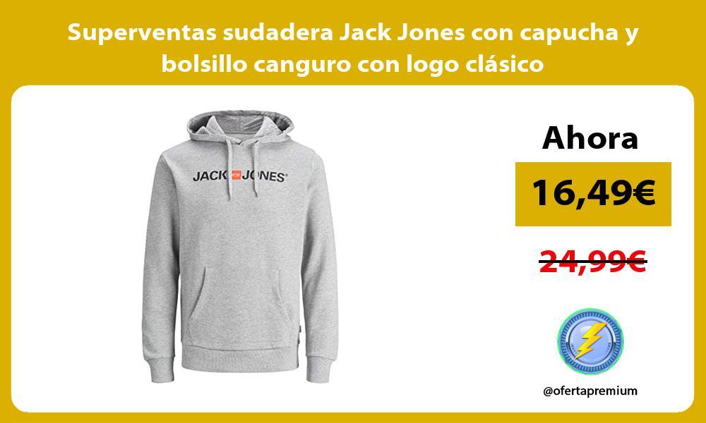 Superventas sudadera Jack Jones con capucha y bolsillo canguro con logo clasico