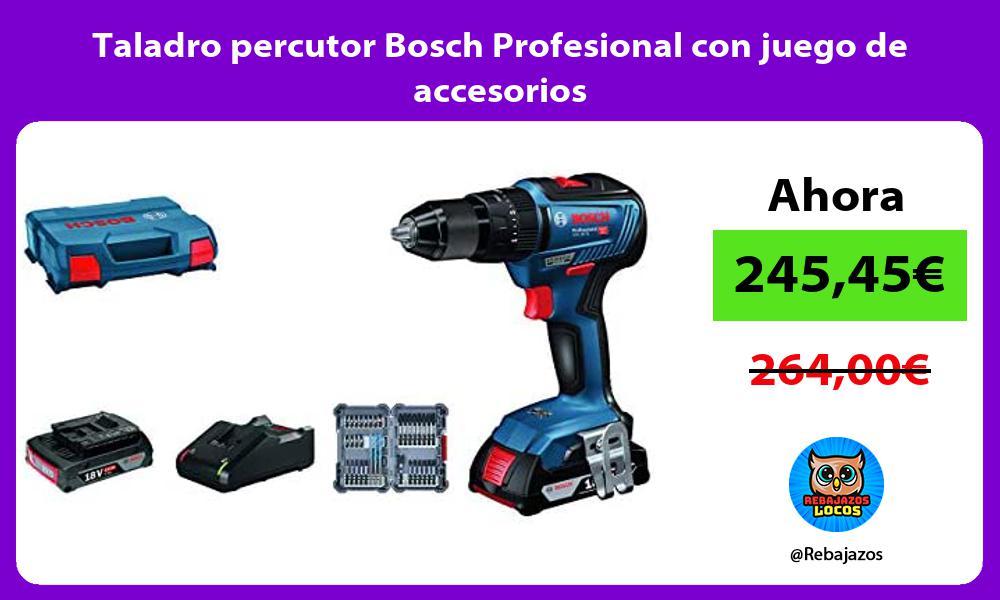Taladro percutor Bosch Profesional con juego de accesorios