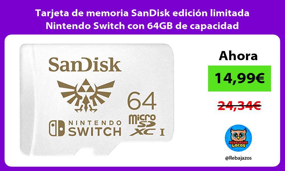 Tarjeta de memoria SanDisk edicion limitada Nintendo Switch con 64GB de capacidad