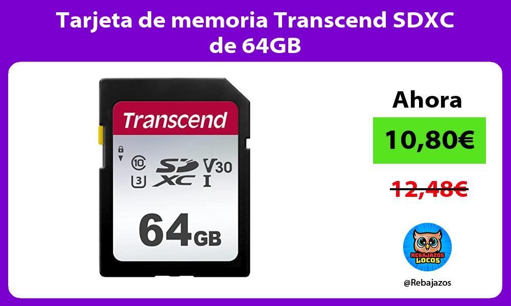 Tarjeta de memoria Transcend SDXC de 64GB