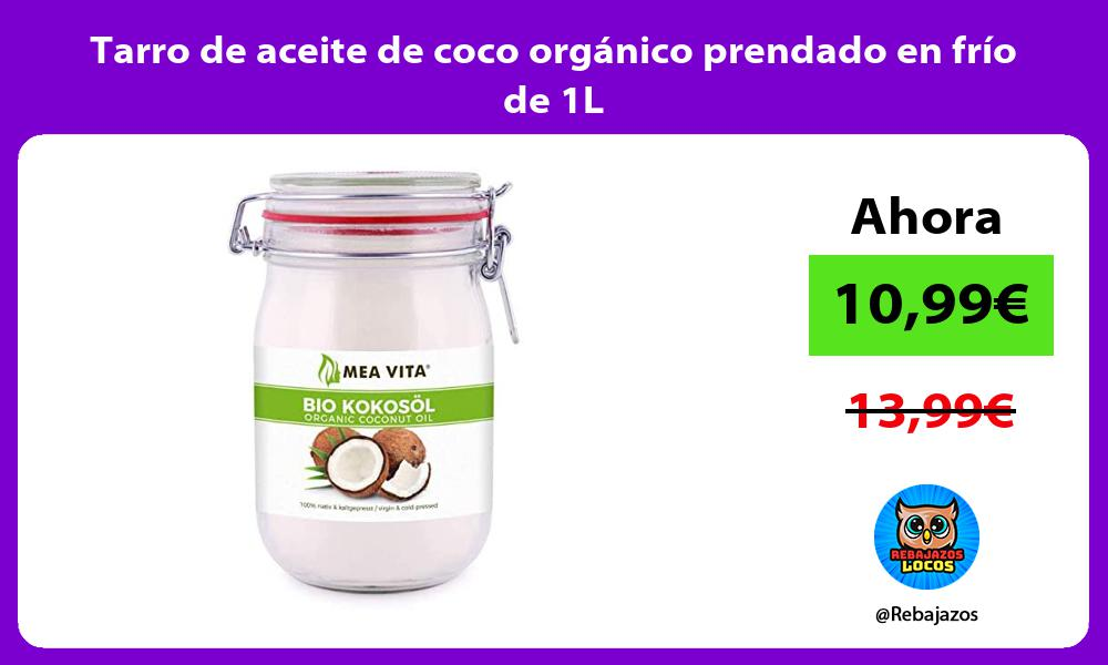 Tarro de aceite de coco organico prendado en frio de 1L