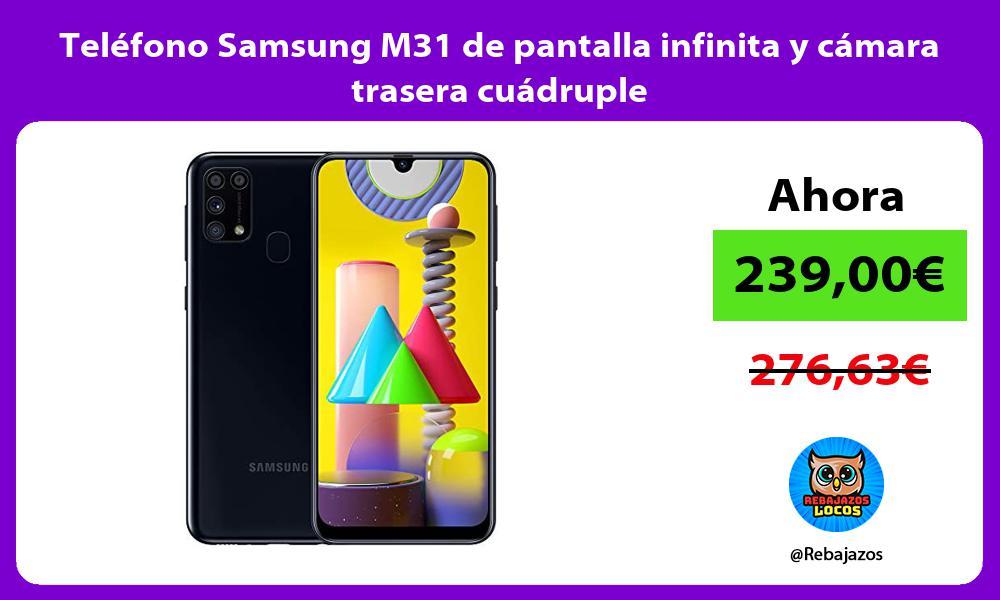 Telefono Samsung M31 de pantalla infinita y camara trasera cuadruple