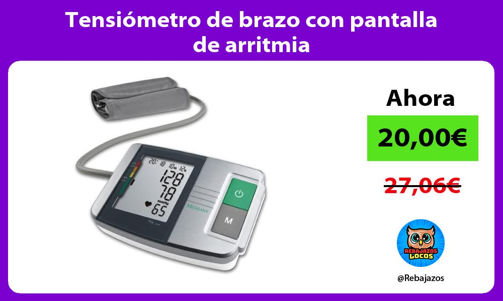 Tensiometro de brazo con pantalla de arritmia