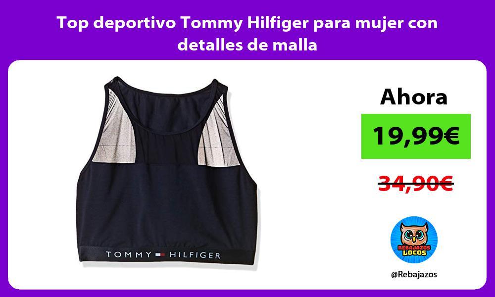 Top deportivo Tommy Hilfiger para mujer con detalles de malla