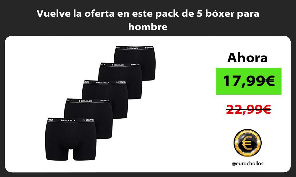 Vuelve la oferta en este pack de 5 boxer para hombre
