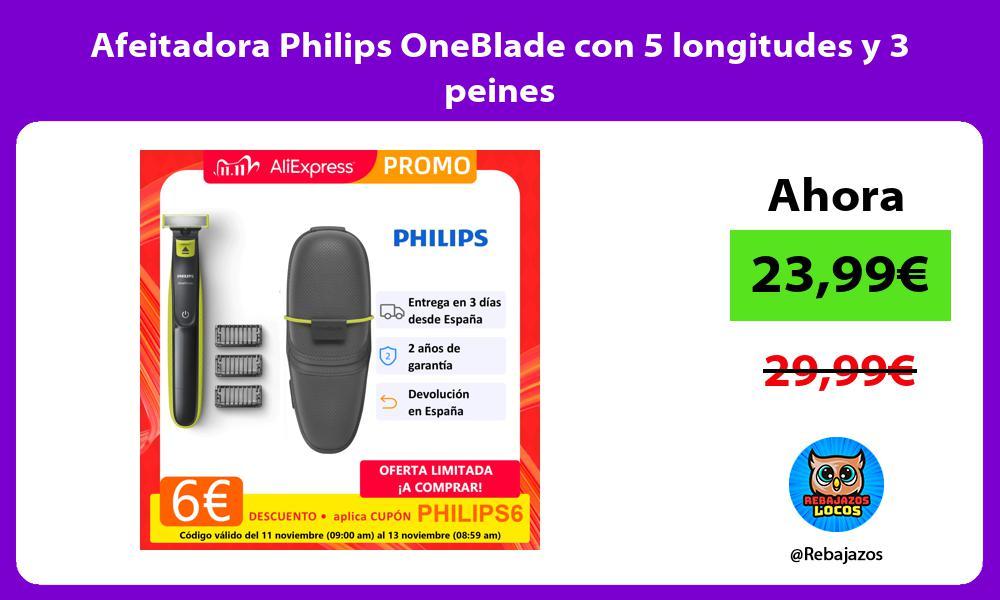 Afeitadora Philips OneBlade con 5 longitudes y 3 peines