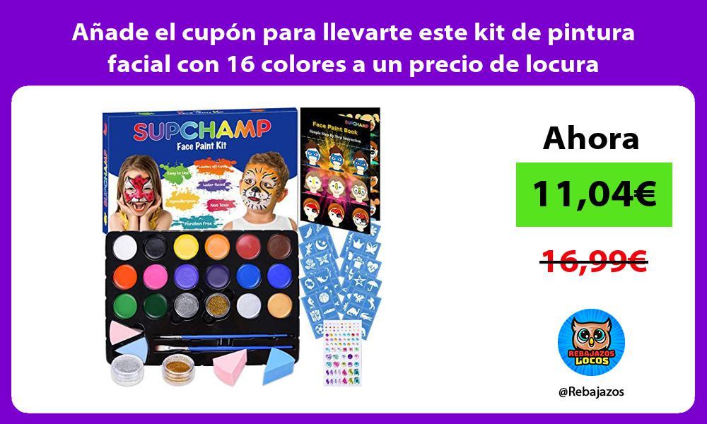 Anade el cupon para llevarte este kit de pintura facial con 16 colores a un precio de locura