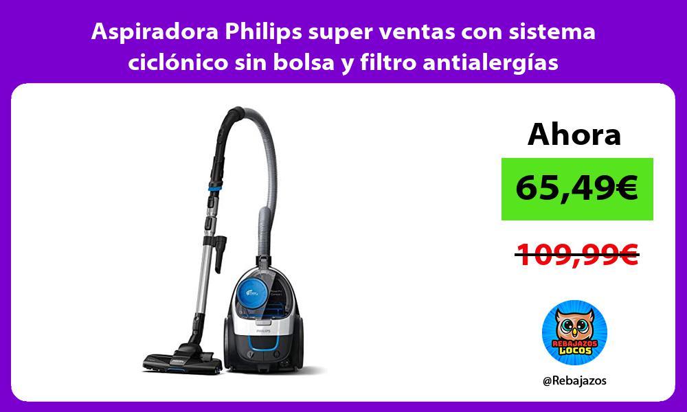 Aspiradora Philips super ventas con sistema ciclonico sin bolsa y filtro antialergias
