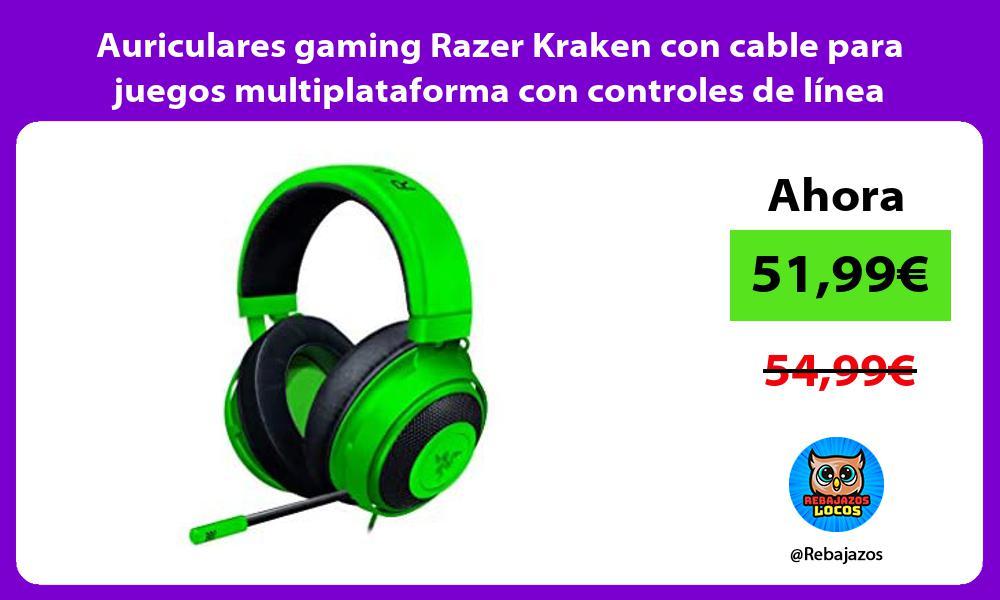 Auriculares gaming Razer Kraken con cable para juegos multiplataforma con controles de linea