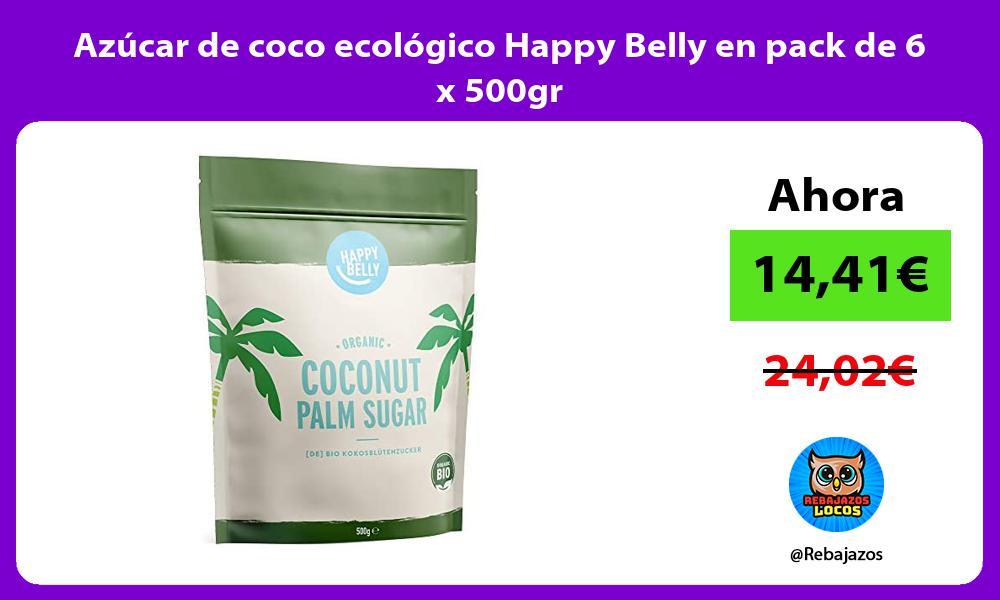 Azucar de coco ecologico Happy Belly en pack de 6 x 500gr