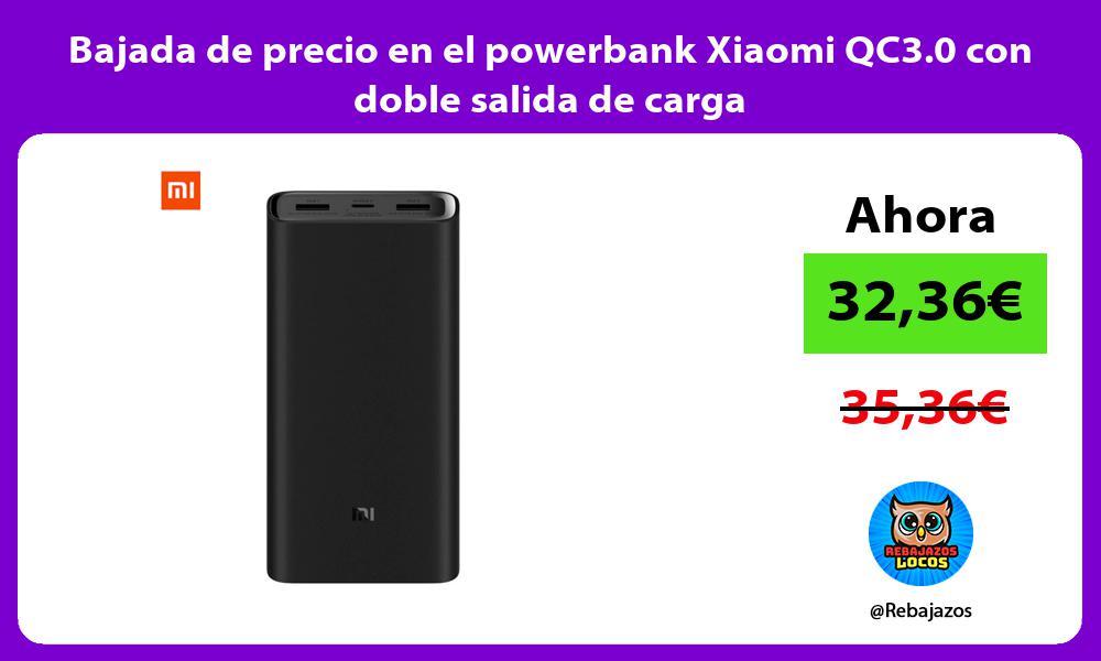 Bajada de precio en el powerbank Xiaomi QC3 0 con doble salida de carga