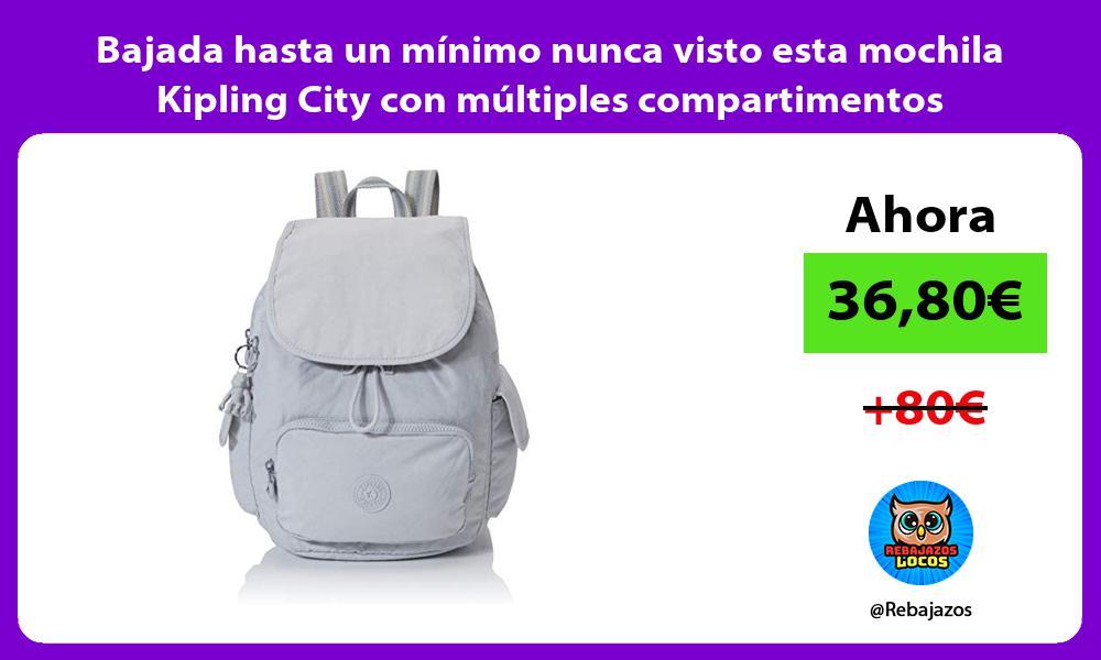 Bajada hasta un minimo nunca visto esta mochila Kipling City con multiples compartimentos
