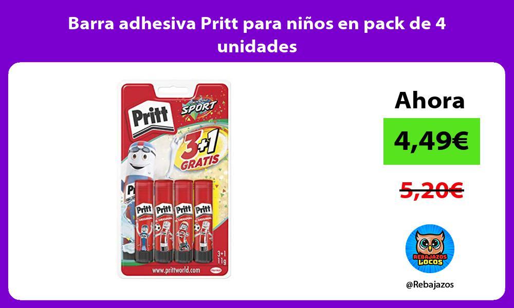 Barra adhesiva Pritt para ninos en pack de 4 unidades