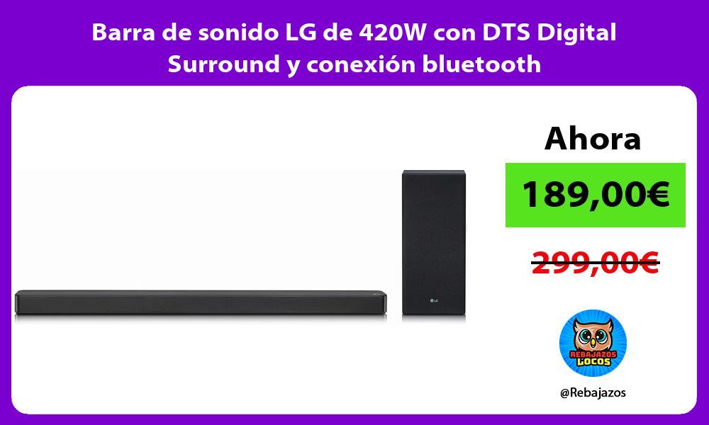 Barra de sonido LG de 420W con DTS Digital Surround y conexion bluetooth