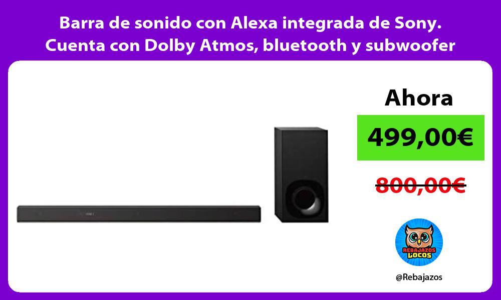 Barra de sonido con Alexa integrada de Sony Cuenta con Dolby Atmos bluetooth y subwoofer