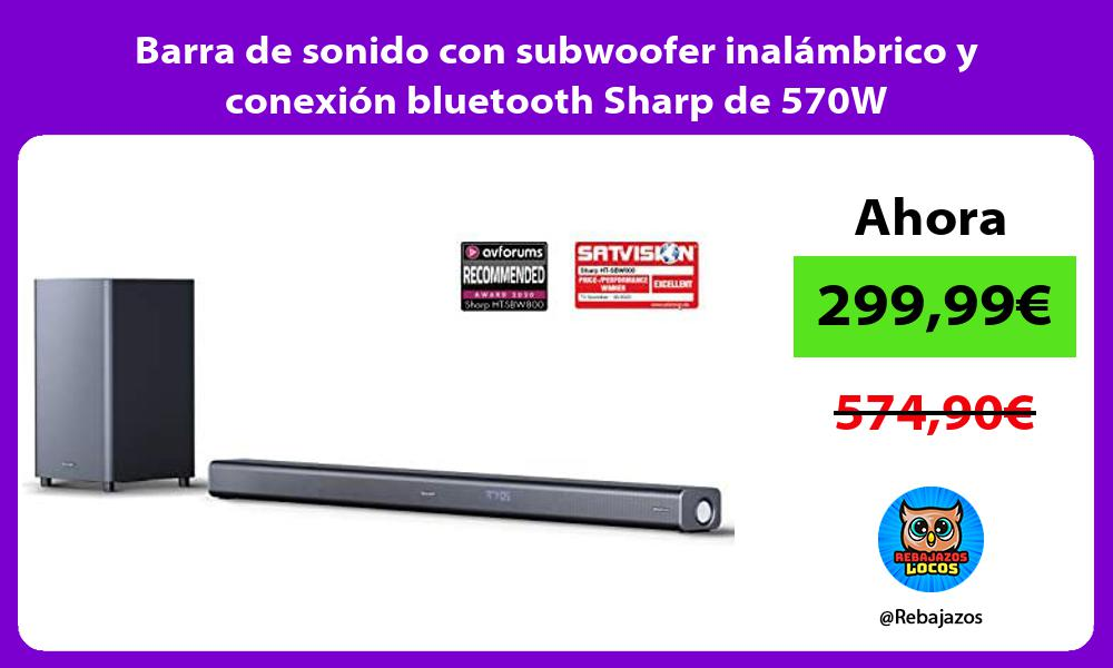 Barra de sonido con subwoofer inalambrico y conexion bluetooth Sharp de 570W