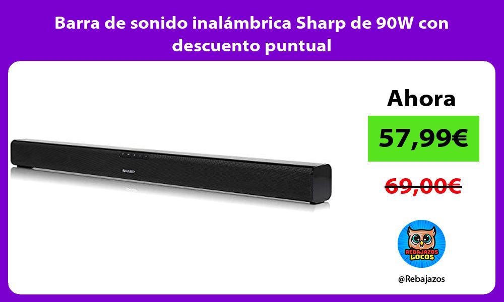 Barra de sonido inalambrica Sharp de 90W con descuento puntual
