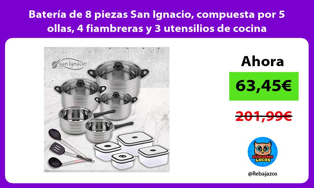 Bateria de 8 piezas San Ignacio compuesta por 5 ollas 4 fiambreras y 3 utensilios de cocina