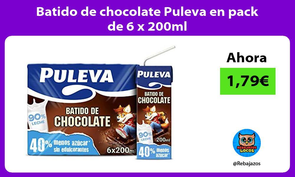 Batido de chocolate Puleva en pack de 6 x 200ml