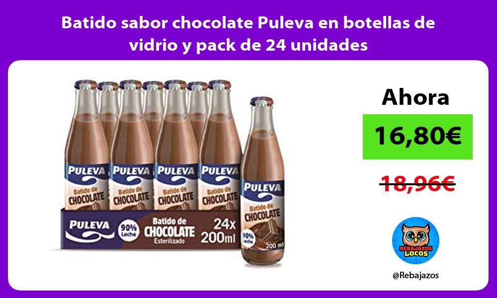 Batido sabor chocolate Puleva en botellas de vidrio y pack de 24 unidades