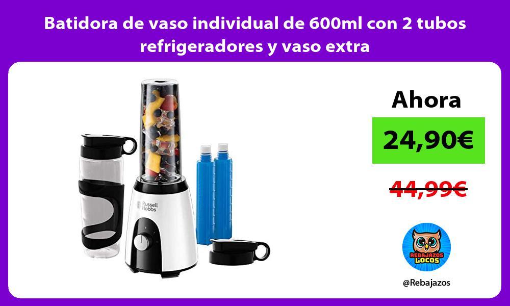 Batidora de vaso individual de 600ml con 2 tubos refrigeradores y vaso extra