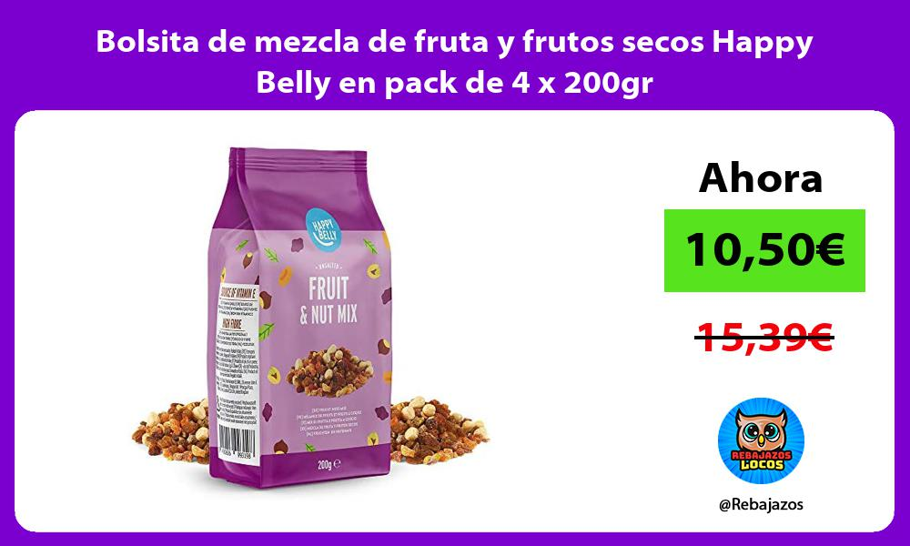 Bolsita de mezcla de fruta y frutos secos Happy Belly en pack de 4 x 200gr