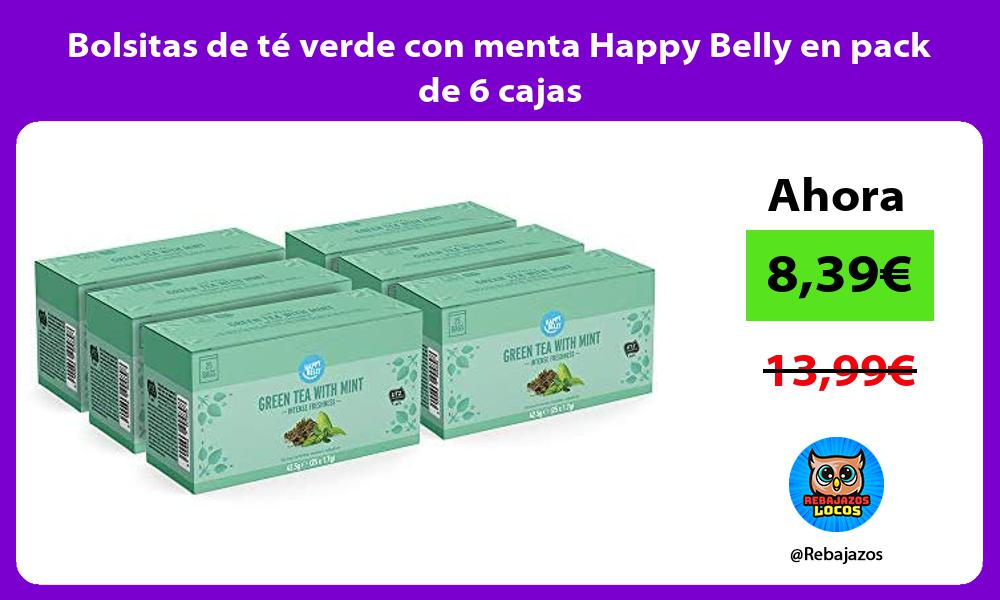Bolsitas de te verde con menta Happy Belly en pack de 6 cajas
