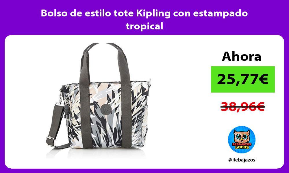 Bolso de estilo tote Kipling con estampado tropical