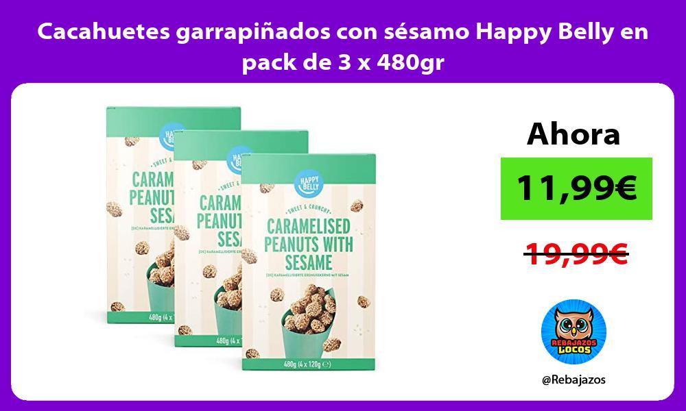 Cacahuetes garrapinados con sesamo Happy Belly en pack de 3 x 480gr