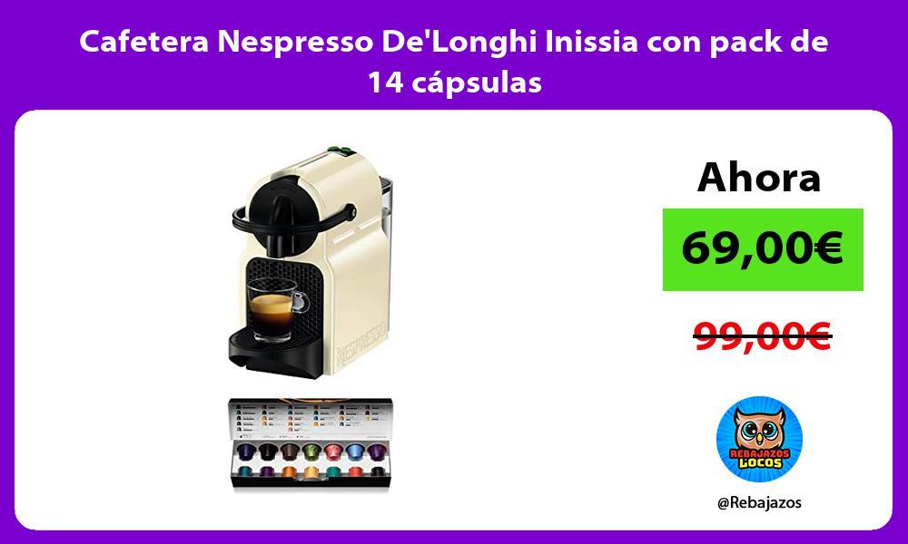 Cafetera Nespresso DeLonghi Inissia con pack de 14 capsulas