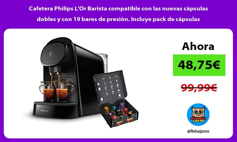 Cafetera Philips LOr Barista compatible con las nuevas capsulas dobles y con 19 bares de presion Incluye pack de capsulas