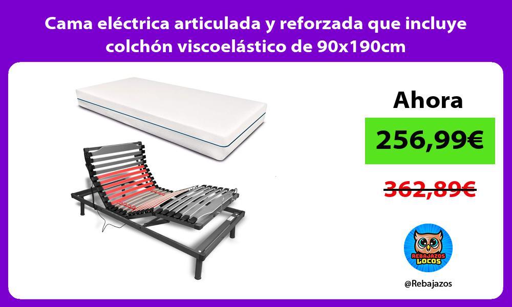 Cama electrica articulada y reforzada que incluye colchon viscoelastico de 90x190cm