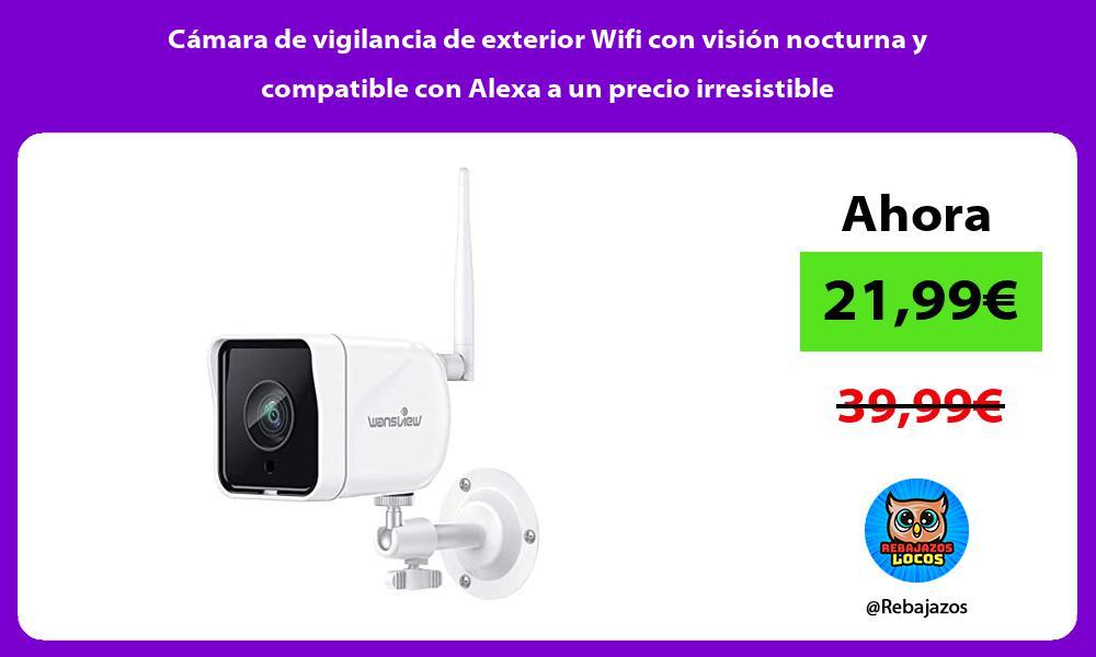 Camara de vigilancia de exterior Wifi con vision nocturna y compatible con Alexa a un precio irresistible
